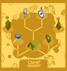 Camp color concept isometric icons vector