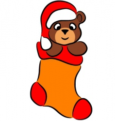 cartoon bear in christmas sock vector image