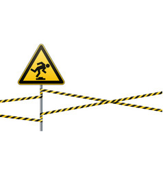 caution low-noticeable obstacle warning sign vector image