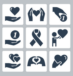 Charity and volunteering icon set in glyph style vector