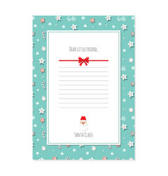 christmas letter from santa claus template a4 vector image
