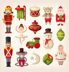 christmas tree toys vector image