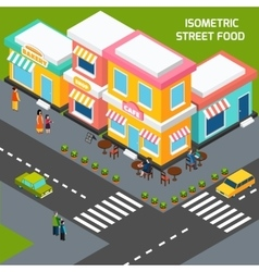 City street food cafe isometric poster vector
