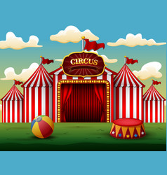 classic red white circus tent with decorative sign vector image