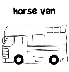 Collection of horse van hand draw vector