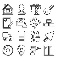construction icons set on white background line vector image