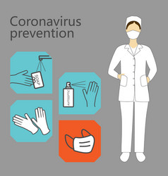 coronavirus prevention medical worker woman vector image