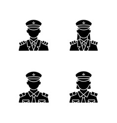 cruise crew black glyph icons set on white space vector image
