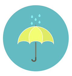 cute flat yellow umbrella icon with rain drops vector image