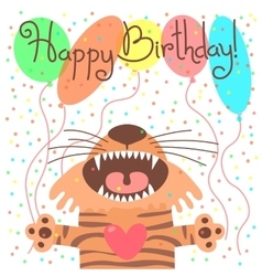 Cute happy birthday card with funny tiger vector
