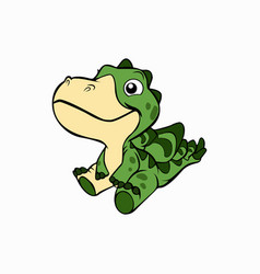 Cute little crocodile animal vector
