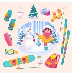 Cute winter girl plaing with snowman in the forest vector