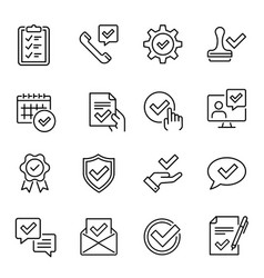 decision approved with check marks linear icons vector image
