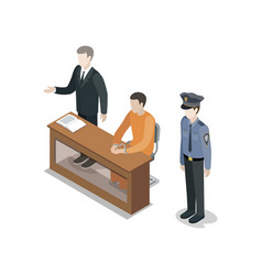 Defendant with lawyer isometric 3d element vector
