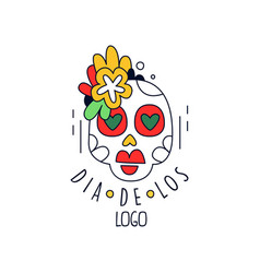 Dia de los logo mexican day of the dead holiday vector