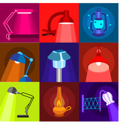 Different lamp icons set flat style vector