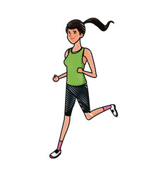 Drawing sport girl running athletic fitness image vector