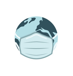 earh globe in medical face mask vector image