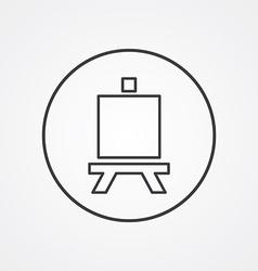 Easel outline symbol dark on white background logo vector