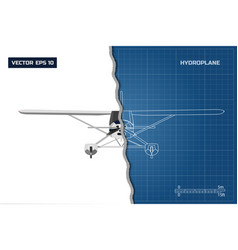 Engineering blueprint of plane top view vector