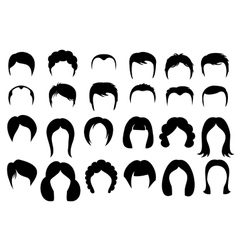 Female and male hair hairstyle silhouette vector