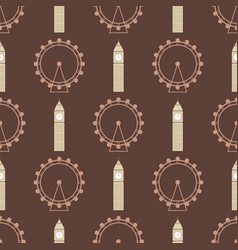 Ferris wheel from amusement parks seamless vector