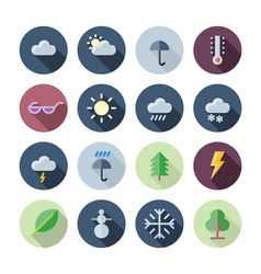 Flat Design Icons For Weather and Nature vector image