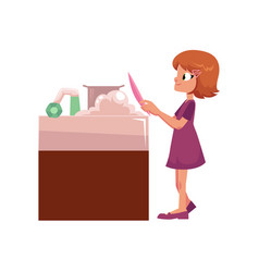 Flat girl kid washing dishes vector