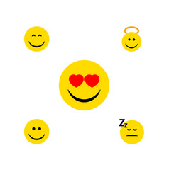flat icon face set of love joy asleep and other vector image
