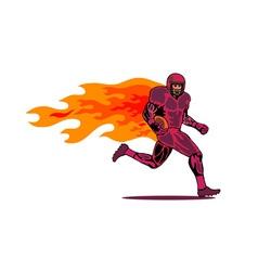 Football Player Running Flames vector