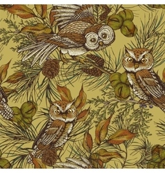 Forest vintage seamless background with owls vector image