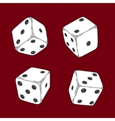 Four colored cartoon-style dice cubes vector