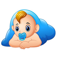 Funny baby and pacifier lying with blue blanket vector