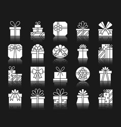 gift white silhouette icons set vector image