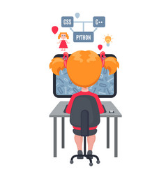 girl sitting at laptop and learning coding vector image