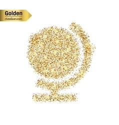 Gold glitter icon of globe isolated on vector