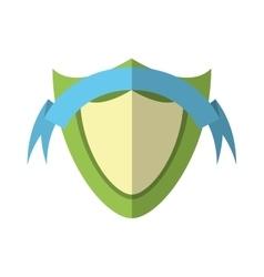 Green shield protection emblem blue ribbon shadow vector