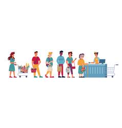 grocery store queue people line in supermarket vector image