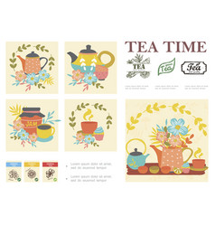 hand drawn tea ceremony composition vector image