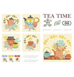 Hand drawn tea ceremony composition vector