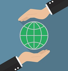 Hands holding globe vector image