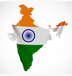 hanging india flag in form of map republic of vector image