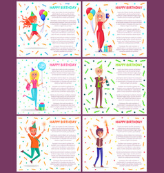 happy birthday celebration party people jumping vector image
