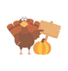 happy thanksgiving day turkey with wooden sign and vector image