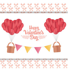 happy valentines day origami paper balloons basket vector image