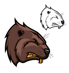 Head beaver animal icon angry rodent mascot vector