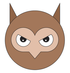 head of owl in cartoon flat style vector image