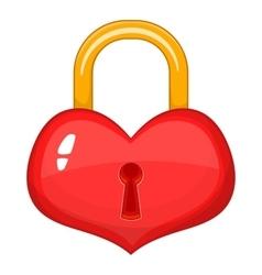 Heart-shaped lock icon cartoon style vector image