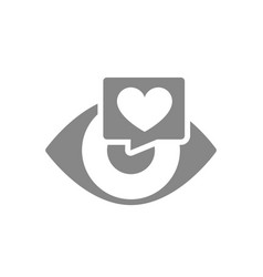human eye with heart in chat bubble grey icon vector image
