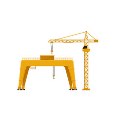 industrial yellow hoisting crane vector image